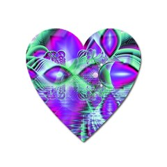 Violet Peacock Feathers, Abstract Crystal Mint Green Magnet (heart)