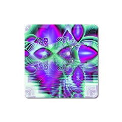 Violet Peacock Feathers, Abstract Crystal Mint Green Magnet (Square)