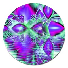 Violet Peacock Feathers, Abstract Crystal Mint Green Magnet 5  (Round)