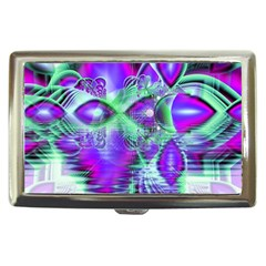 Violet Peacock Feathers, Abstract Crystal Mint Green Cigarette Money Case