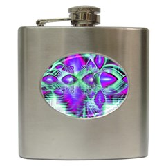 Violet Peacock Feathers, Abstract Crystal Mint Green Hip Flask