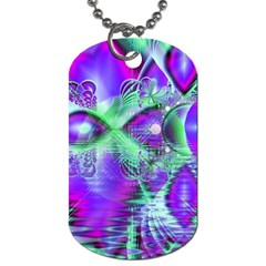 Violet Peacock Feathers, Abstract Crystal Mint Green Dog Tag (Two-sided)