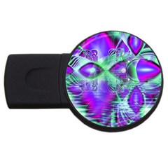 Violet Peacock Feathers, Abstract Crystal Mint Green 1GB USB Flash Drive (Round)
