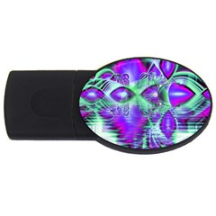 Violet Peacock Feathers, Abstract Crystal Mint Green 1GB USB Flash Drive (Oval)