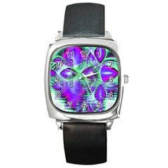 Violet Peacock Feathers, Abstract Crystal Mint Green Square Leather Watch