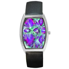 Violet Peacock Feathers, Abstract Crystal Mint Green Tonneau Leather Watch