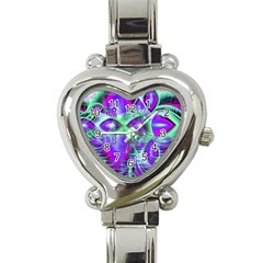 Violet Peacock Feathers, Abstract Crystal Mint Green Heart Italian Charm Watch