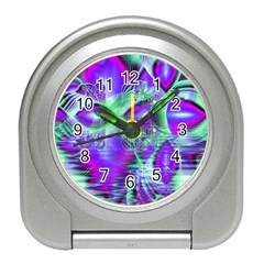 Violet Peacock Feathers, Abstract Crystal Mint Green Desk Alarm Clock