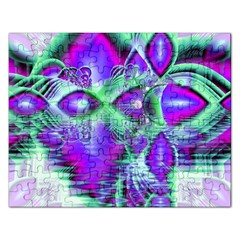 Violet Peacock Feathers, Abstract Crystal Mint Green Jigsaw Puzzle (Rectangle)