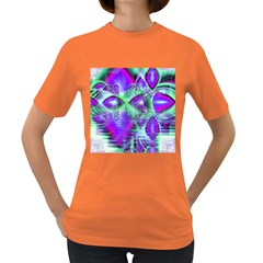 Violet Peacock Feathers, Abstract Crystal Mint Green Women s T-shirt (Colored)