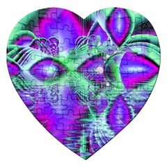 Violet Peacock Feathers, Abstract Crystal Mint Green Jigsaw Puzzle (Heart)