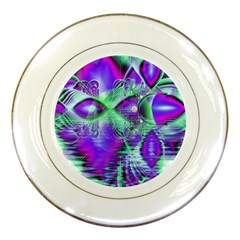 Violet Peacock Feathers, Abstract Crystal Mint Green Porcelain Display Plate