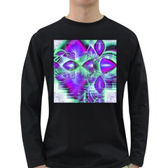 Violet Peacock Feathers, Abstract Crystal Mint Green Men s Long Sleeve T-shirt (Dark Colored)