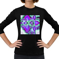 Violet Peacock Feathers, Abstract Crystal Mint Green Women s Long Sleeve T-shirt (Dark Colored)