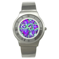Violet Peacock Feathers, Abstract Crystal Mint Green Stainless Steel Watch (Slim)