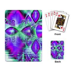 Violet Peacock Feathers, Abstract Crystal Mint Green Playing Cards Single Design