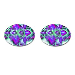 Violet Peacock Feathers, Abstract Crystal Mint Green Cufflinks (Oval)