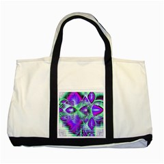 Violet Peacock Feathers, Abstract Crystal Mint Green Two Toned Tote Bag