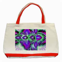 Violet Peacock Feathers, Abstract Crystal Mint Green Classic Tote Bag (red)