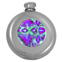 Violet Peacock Feathers, Abstract Crystal Mint Green Hip Flask (Round)