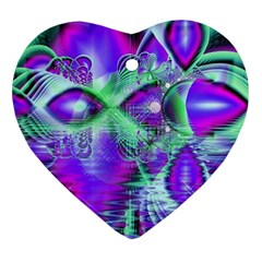 Violet Peacock Feathers, Abstract Crystal Mint Green Heart Ornament (two Sides)