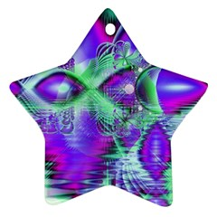 Violet Peacock Feathers, Abstract Crystal Mint Green Star Ornament (Two Sides)