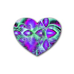 Violet Peacock Feathers, Abstract Crystal Mint Green Drink Coasters 4 Pack (Heart)