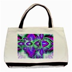Violet Peacock Feathers, Abstract Crystal Mint Green Twin-sided Black Tote Bag
