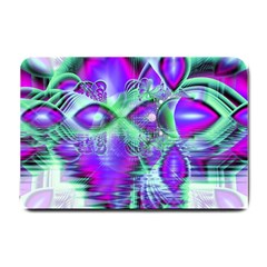 Violet Peacock Feathers, Abstract Crystal Mint Green Small Door Mat