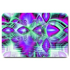 Violet Peacock Feathers, Abstract Crystal Mint Green Large Door Mat