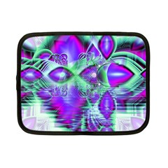 Violet Peacock Feathers, Abstract Crystal Mint Green Netbook Sleeve (Small)