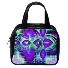 Violet Peacock Feathers, Abstract Crystal Mint Green Classic Handbag (One Side)