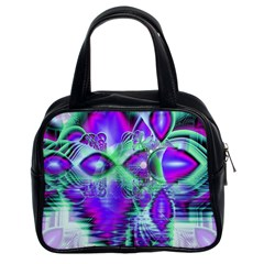 Violet Peacock Feathers, Abstract Crystal Mint Green Classic Handbag (Two Sides)