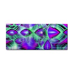 Violet Peacock Feathers, Abstract Crystal Mint Green Hand Towel