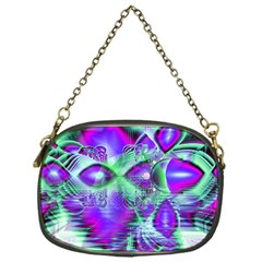 Violet Peacock Feathers, Abstract Crystal Mint Green Chain Purse (One Side)