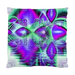 Violet Peacock Feathers, Abstract Crystal Mint Green Cushion Case (Two Sided)