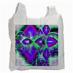 Violet Peacock Feathers, Abstract Crystal Mint Green White Reusable Bag (One Side)