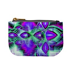 Violet Peacock Feathers, Abstract Crystal Mint Green Coin Change Purse