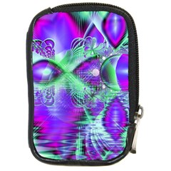 Violet Peacock Feathers, Abstract Crystal Mint Green Compact Camera Leather Case