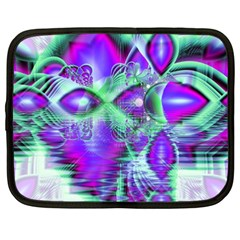 Violet Peacock Feathers, Abstract Crystal Mint Green Netbook Sleeve (xxl)
