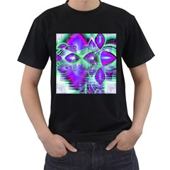 Violet Peacock Feathers, Abstract Crystal Mint Green Men s T Shirt (black)