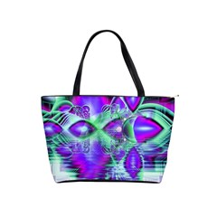 Violet Peacock Feathers, Abstract Crystal Mint Green Large Shoulder Bag