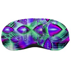 Violet Peacock Feathers, Abstract Crystal Mint Green Sleeping Mask