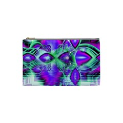 Violet Peacock Feathers, Abstract Crystal Mint Green Cosmetic Bag (Small)