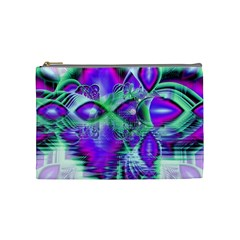 Violet Peacock Feathers, Abstract Crystal Mint Green Cosmetic Bag (medium)