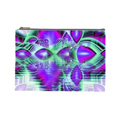 Violet Peacock Feathers, Abstract Crystal Mint Green Cosmetic Bag (Large)