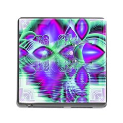 Violet Peacock Feathers, Abstract Crystal Mint Green Memory Card Reader with Storage (Square)