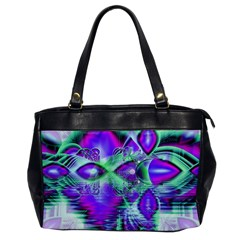 Violet Peacock Feathers, Abstract Crystal Mint Green Oversize Office Handbag (One Side)