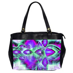 Violet Peacock Feathers, Abstract Crystal Mint Green Oversize Office Handbag (Two Sides)