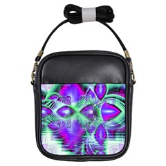Violet Peacock Feathers, Abstract Crystal Mint Green Girl s Sling Bag
